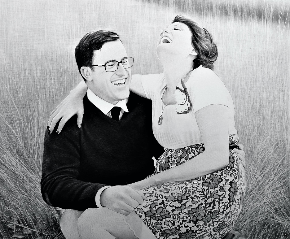 Charcoal drawing of a man and woman laughing in a grassy field
